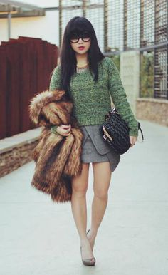HM faux-fur jacket - similar here and here, Green textured knit c/o All About Eve, Wrap skirt in grey c/o Choies, Black leather clutch-bag c/o Young Hungry Free, Melissa Spike in mushroom and neon c/o Melissa Australia (image: paledivision) Origami Skirt, Indie Fashion, Street Fashion, Women's Fashion, Faux Fur Jacket, Winter Looks, Fashion Outlet, Pattern Fashion, Chic Outfits
