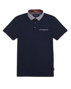 Floral collar polo shirt - Navy | Tops & T-shirts | Ted Baker UK