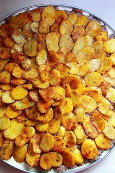 Kafta with Potatoes with Tahini Sauce