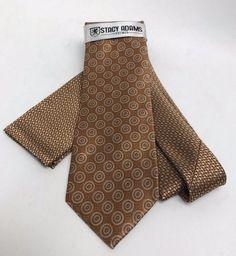 Stacy Adams Tie & Hanky Set Mustard Beige Brown Multi Design Microfiber Men's #StacyAdams #TieHankySet