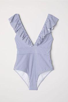 Swimsuit with Flounce - White/Blue striped - Ladies Bikini Sets, Bikini Modells, Bikini Beach, Best Swimsuits, Women Swimsuits, One Piece Swimwear, One Piece Swimsuit, Cute Bathing Suits, Swimwear Fashion