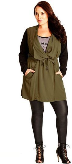 City Chic 'Long Weekend' Jacket with Contrast Sleeves (Plus Size)