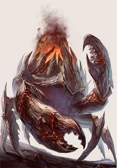 Volcano Crab, Yu Cheng Hong on ArtStation at https://www.artstation.com/artwork/D2m0