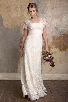 Cap Sleeves V-back Floor Length Alluring Sheath Lace Wedding Dress