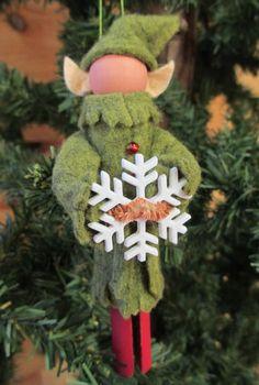 Elf Christmas Ornament Clothespin Felt Olive by ModerationCorner