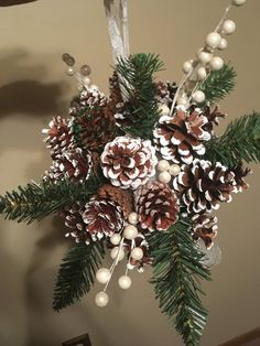 Pine Cone Kissing Ball, Winter Decor, Chistmas Decoration, Christmas Wreath Ball by StAshUS on Etsy Pine Cone Christmas Decorations, Christmas Centerpieces, Diy Christmas Ornaments, Pinecone Christmas Crafts, Homemade Christmas Wreaths, Pinecone Decor, Homemade Xmas Decorations, Pine Cone Christmas Tree, Pine Cone Tree