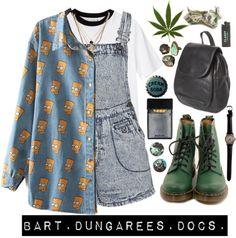 """Bart. Dungarees. Docs."" by emilyhodgsonx ❤ liked on Polyvore"
