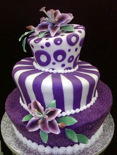 purple fondant topsy turvy by anna's cake art, via Flickr