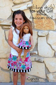 "My girls love matching outfits with their American Girl Doll! This Girl & 18"" doll skirt easy sewing pattern and tutorial is a fun craft project to make for your daughter and her AG doll!"