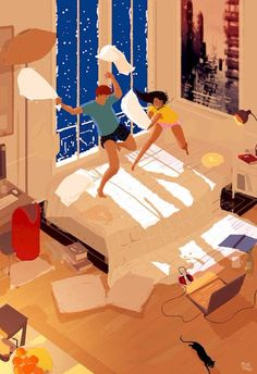 Pascal Campion is a French-American artist based in Burbank, California who creates heartwarming and soulful illustrations about every day life. Pascal Campion, Art And Illustration, American Illustration, Pillow Fight, Couple Art, Love Art, Oeuvre D'art, Betta, True Love