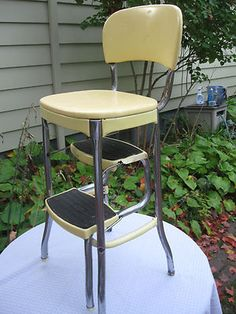 Vintage Metal Yellow Folding Costco Chair Step Stool Fold