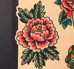 old school 牡丹 Traditional Tattoo Flowers, Traditional Tattoo Old School, Traditional Tattoo Filler, Traditional Style Tattoo, Traditional Sleeve, Old Tattoos, Sleeve Tattoos, Carnation Flower Tattoo, Peony Flower Tattoos