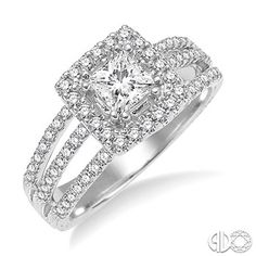 Engagement Ring with Princess Cut Center Stone in 14K White Gold