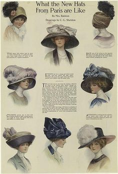 Hats from Paris-1910 Aren't they beautiful?  Wonder how much they weigh.  How hard there were to wear?