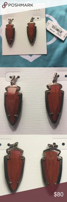 Kendra Scott Katelyn earrings in Red Jasper Medium size drop earrings. Faceted arrowhead shape. First close up picture is of the front of the stones, second close up picture is of the back of the stones. Brand new with tags, have never been worn. No longer available on the Kendra Scott website. Kendra Scott Jewelry Earrings