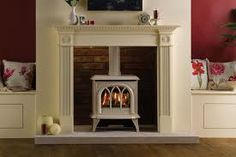 ivory gas stove with white surround