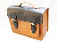 Brown and Black MacBook Bag Genuine Retro Leather Messenger. $175.00, via Etsy.