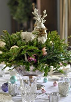 In our article today we show you Christmas recipes But this time it's not about food, but about precious table center with silver trim and green spruce branches. The decoration of the table will be th French Christmas Decor, Country Christmas Decorations, Christmas Table Settings, Christmas Centerpieces, Xmas Decorations, Christmas Home, Holiday Decor, Christmas Recipes, Green Christmas