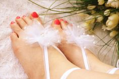 White Barefoot Sandals Bridal Shoes Beach Wedding Sandals Floral Spring Outdoor Ceremony Barefoot Jewelry Ribbon Pearl Crystal Sandals by sestras on Etsy https://www.etsy.com/listing/154671947/white-barefoot-sandals-bridal-shoes