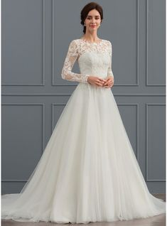 Ball-Gown Scoop Neck Sweep Train Tulle Wedding Dress (002127265) - JJsHouse