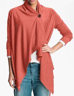 Asymmetrical fleece wrap in #coral $39.90 http://rstyle.me/n/fyregnyg6