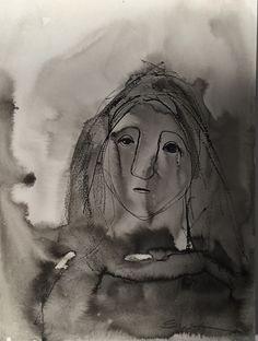 Sirkkaliisa Virtanen: Unhappy day, indian ink Art, Watercolor Art, Painting, Ink
