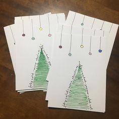 Cartões artesanais com técnica de desenho e aquarela. #cartaodenatal #christmascard #natal #christmas #diy #handmade #artesanato #arte #art #aquarela