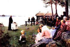 Kuva albumissa ALBERT EDELFELT - Google Kuvat. Jumalanpalvelus Uudenmaan sdaaristossa, 1881.  Petit Oy, iso kortti.