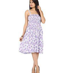 Buy Purple plain cotton dress western-wear online