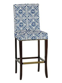Transitional Bar Stool With Bold Blue and White Patterned Fabric | HGTV