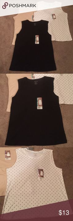 3 NWT tank tops There are solid and polka dotted ones. They can be worn alone or layered. They're 100% cotton. Bundle and get $3 off. Can't be combined with other offers. Smoke free house Tops Tank Tops