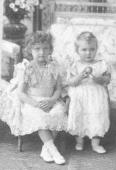 Grand Duchesses Tatiana and Marie Nikolaevna Romanov as toddlers.