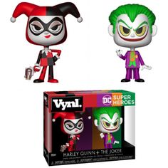 Funko Heroes Vynl - Harley Quinn & The Joker This Vynl. features one of DC's most iconic couples Harley Quinn and The Joker! Vinyl Toys, Funko Pop Vinyl, Pop Vinyl Figures, Joker And Harley Quinn, Dc Heroes, Gotham City, Batgirl, Dc Comics, Action Figures