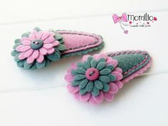 Felt Flower Snap Clips by Momilio on Etsy