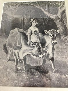 Vintage Print Milk Maid and Cows Black and White by CowgirlPoetry