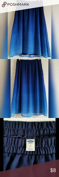 "OLD NAVY SKIRT Beautiful blue ombre skirt, measures 27"" from waist to hem, size M, has an elastic waist, in good condition only worn a couple times Old Navy Skirts A-Line or Full"