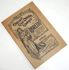 Vintage Playbill Chicago Civic Opera Company Libretto Otello Performance Rullman 1920s. $18.00, via Etsy.