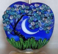 WSTGA~SUMMER BLUES~FLORAL TREE MOON handmade lampwork focal glass bead SRA #WindSweptTreeGlassArt #Lampwork By Molly Cooley