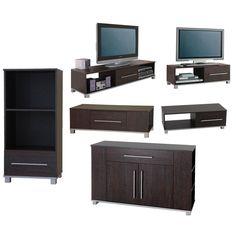 Living Room Furniture Range Sideboard TV Stand Coffee Table Media Unit Dark Wood