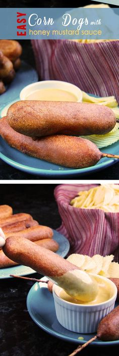 Corn Dogs with Honey Mustard Sauce : Carlsbad Cravings Dog Recipes, Beef Recipes, Snack Recipes, Cooking Recipes, I Love Food, Good Food, Yummy Food, Corndog Recipe, Do It Yourself Food