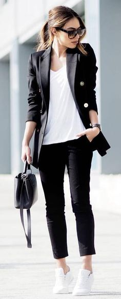 casual office style perfection  / blazer + bag + top + pants + skinnies