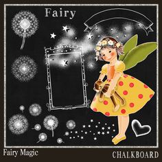 Chalkboard Clipart Fairy Magic  Chalk Drawing-Card Design,- Spend 20 dollers use code TAKE50OFF Get half Price by DigitalPaperCraft on Etsy