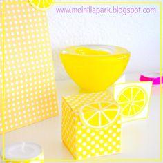 Free printable polka dot favor box with lemon tags - ausdruckbare DIY Box - freebie