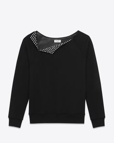 Saint Laurent - Asymmetrical studded collar sweatshirt in black french terrycloth and leather