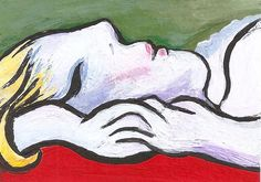 ACEO #picasso style Woman Asleep #painting #Miniature Masterpiece Penny StewArt #Miniature