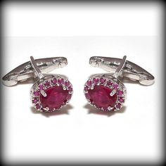 Latest-925 Sterling Silver Natural 100% Ruby Men's Descent Cufflinks Jewellery   #SimSimSilver