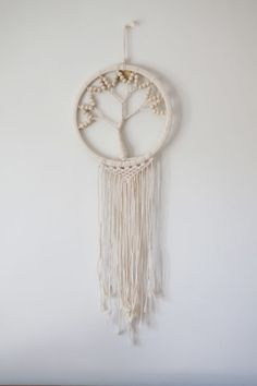 The tree of life commonly represents the interconnectedness of everything., reminding us of our roots. This macramé is handmade and may differ slightly in design. Polka Dot Walls, Wall Crosses, Wall Patterns, Tree Of Life, Peonies, Dream Catcher, Roots, Earth, Range