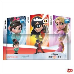 Disney Infinity Girl Power Pack includes Vanellope Von Schweetz, Violet from the Incredibles and Rapunzel.