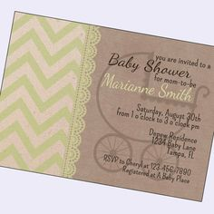 vintage baby shower invitations, gender neutral shower invite, boy shower, girl shower, shabby chic, digital, printable, proof in 24 hours on Etsy, $11.00