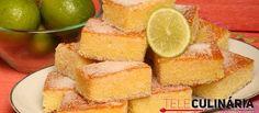 Receita de Quadradinhos de limão. Descubra como cozinhar Quadradinhos de limão de maneira prática e deliciosa com a Teleculinária!